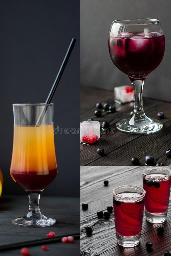 Tre drinkar, coctailscollage på svart bakgrund som är vertikal royaltyfria bilder