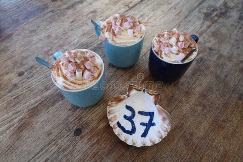 Tre drinkar för varm choklad arkivfoto