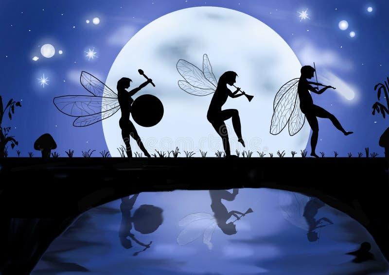 Tre elfi che ballano e che cantano immagine stock