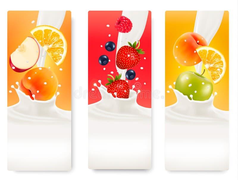 Tre etiketter med olik frukt som faller in i färgstänk av, mjölkar royaltyfri illustrationer