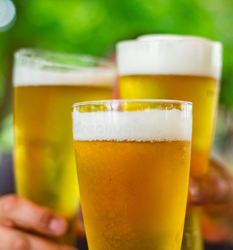 Tre exponeringsglas av öl i hand Ölexponeringsglas som klirrar på den utomhus- stången eller baren royaltyfria bilder