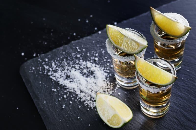 Tre exponeringsglas av tequila med salt på kanten och limefrukten arkivbilder