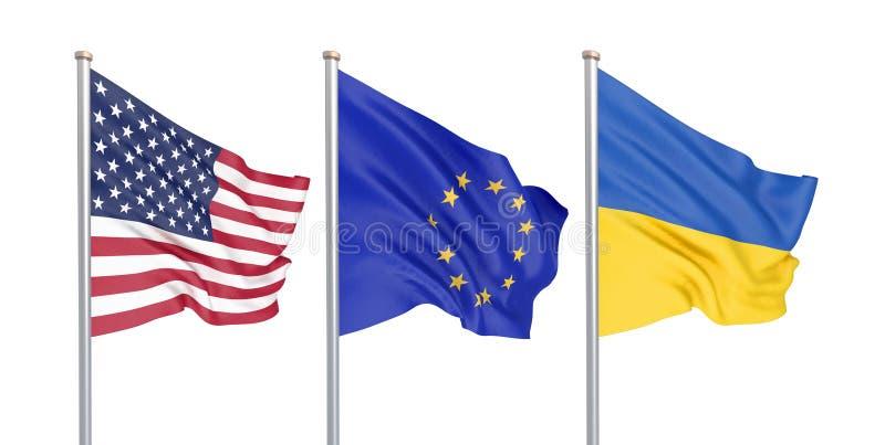 Tre färgade silkeslena flaggor i vinden: USA Amerikas förenta stater, E. - europeisk union och Ukraina som isoleras på vit 3d vektor illustrationer