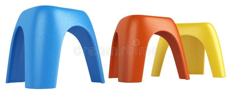 Tre färgglada modul pallr stock illustrationer