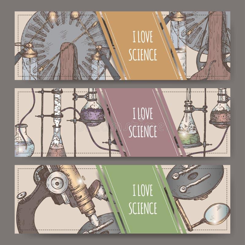 Tre färglandskapbaner med handen dragen vetenskapsutrustning skissar royaltyfri illustrationer
