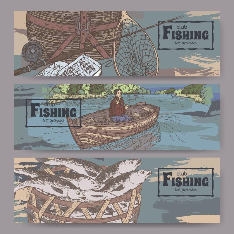 Tre färglandskapbaner med släkt att fiska skissar royaltyfri illustrationer