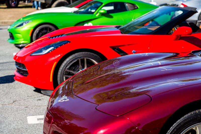 Tre färgrika korvetter arkivbilder