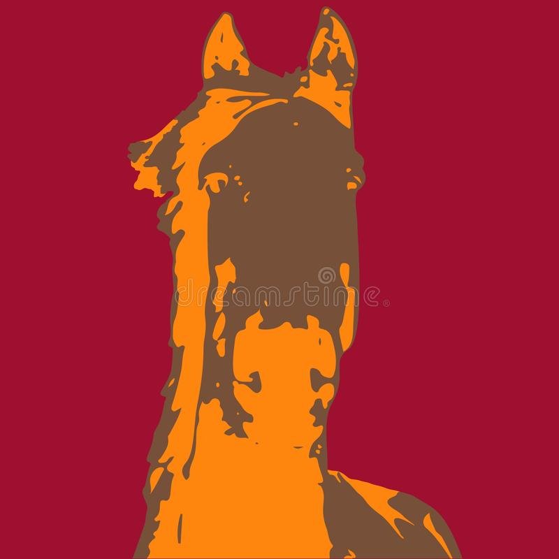 Tre färgvektorhästar - som är varje av dem på en olik färgbakgrund - häst med översiktsslaglängden royaltyfri illustrationer