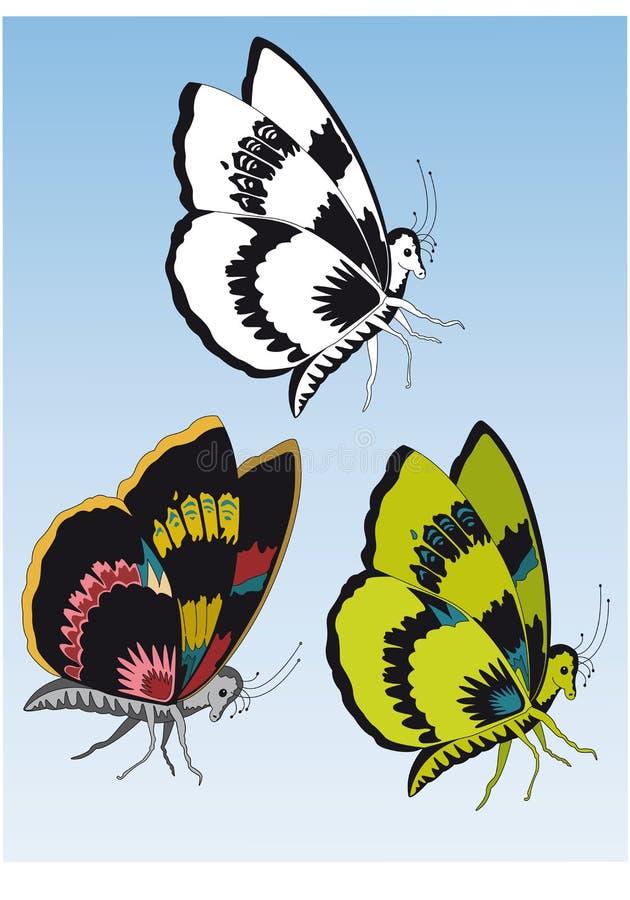 Download Tre Farfalle Dei Colori Differenti Illustrazione di Stock - Illustrazione di insetto, cielo: 55365690