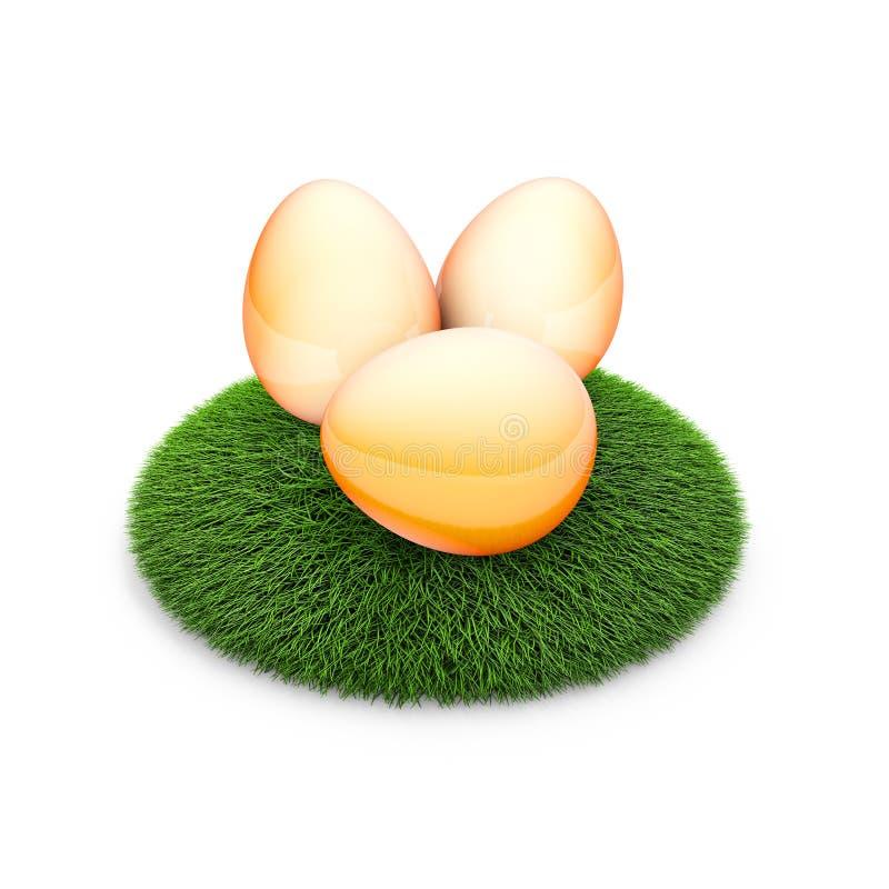 Tre fega ägg på grönt gräs 3d framför illustrationen arkivfoto