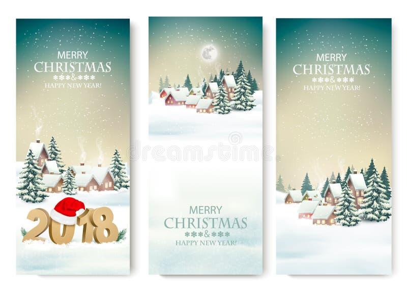 Tre feriejulbaner med en vinterby och 2018 stock illustrationer