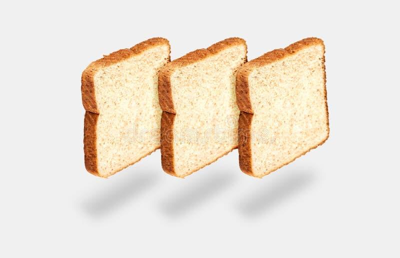 Tre fette di pane chiaro fotografie stock libere da diritti
