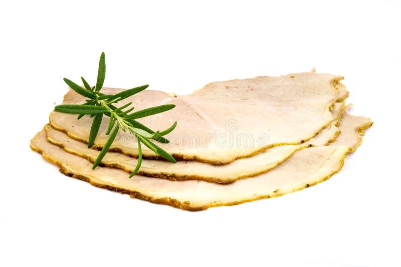 Tre fette di salsiccia di Kassler isolate su fondo bianco immagine stock