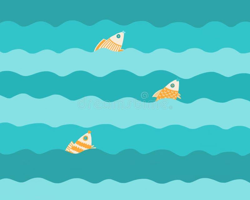 Tre fiskar på vågorna royaltyfri illustrationer