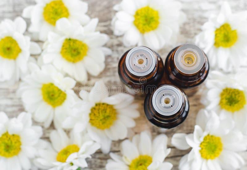 Tre flaskor av nödvändig kamomill oljer över träbakgrund aromatherapy begreppsbrunnsort arkivbild