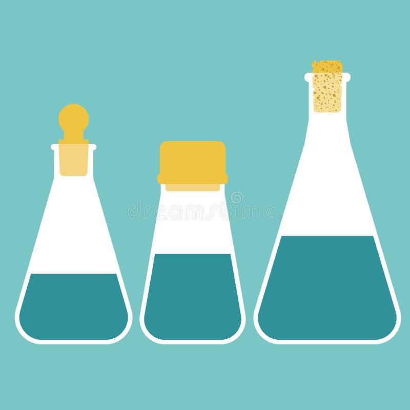 Tre flaskor av olik volym vektor illustrationer