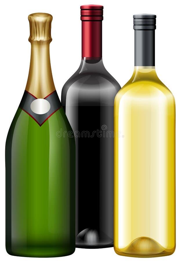 Tre flaskor av vin och champagne royaltyfri illustrationer