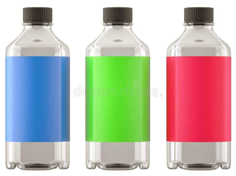Tre flaskor för kemikalieer eller droger med färgrik klistermärkeisolator stock illustrationer