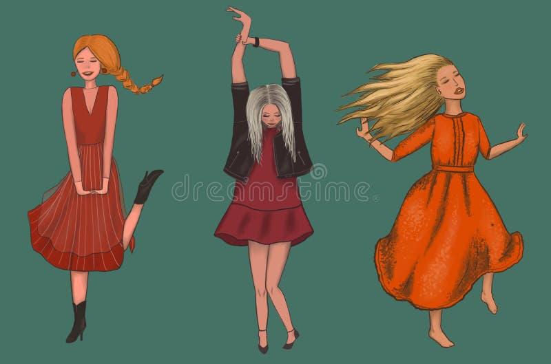 Tre flickor i röda klänningar dansar vektor illustrationer