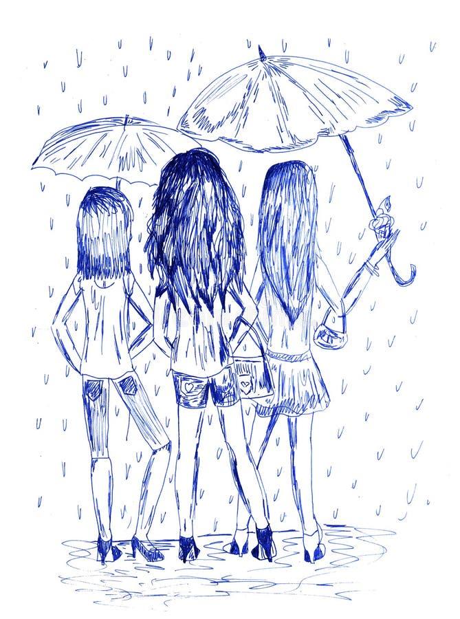 Tre flickor med paraplyer Monochromatic hand dragen bild vid bläckpennan royaltyfri illustrationer