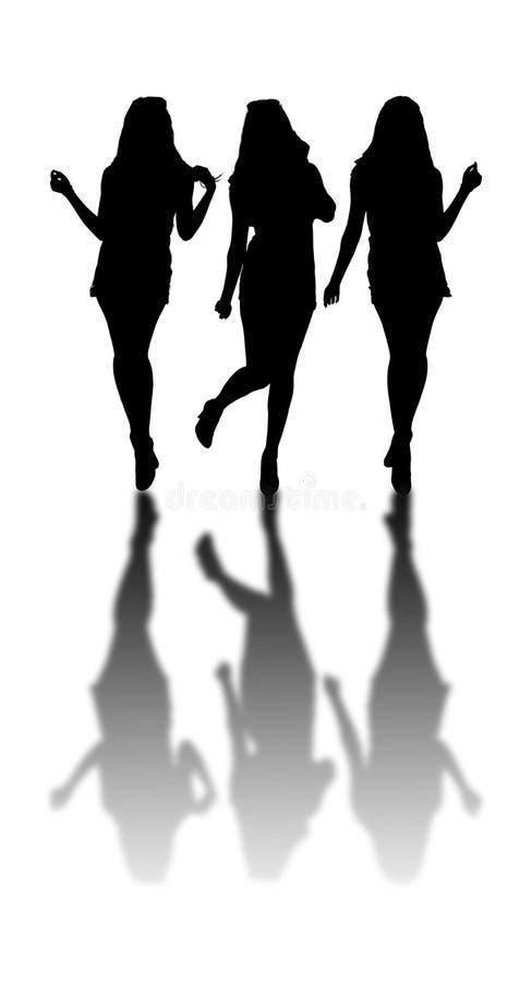 Tre flickor med skuggareflex på jordning stock illustrationer