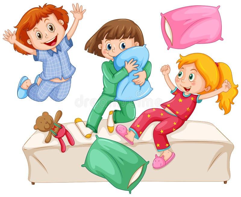 Tre flickor som spelar kuddekamp på slummerpartiet stock illustrationer