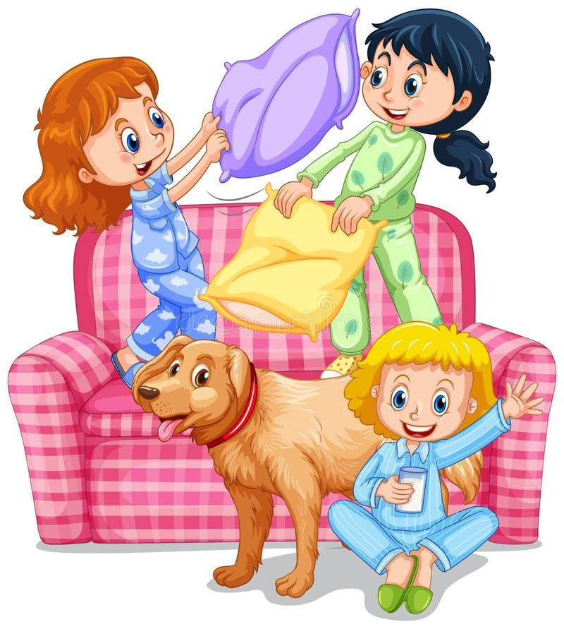 Tre flickor som spelar kuddekamp på slummerpartiet royaltyfri illustrationer
