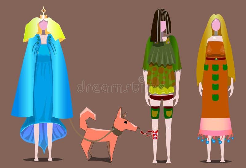 Tre flickor står i rad vektor illustrationer