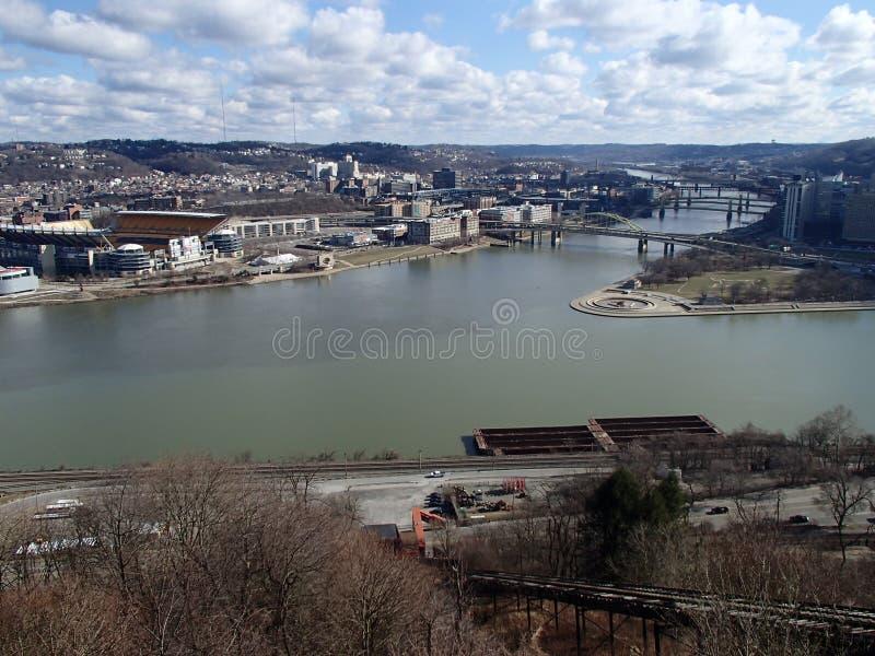 Tre floder på punktPgh PA arkivbilder