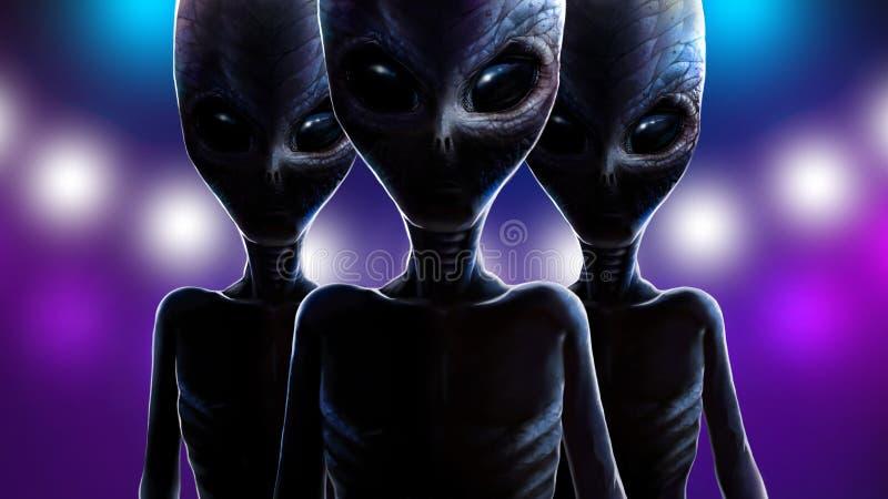 Tre främlingar på bakgrund av ljusrymdskeppet 2D vektor illustrationer