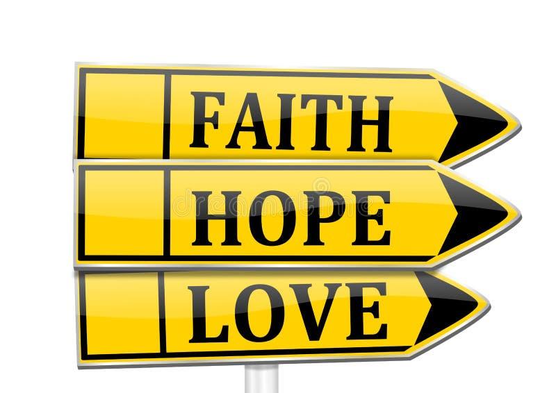 Tre frecce con la fede di parole, speranza, amore illustrazione vettoriale