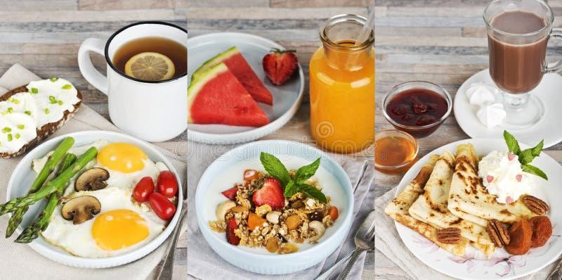 Tre frukostar Stekte ägg med te, mysli med fruktsaft och pannkakor med kakao arkivbild