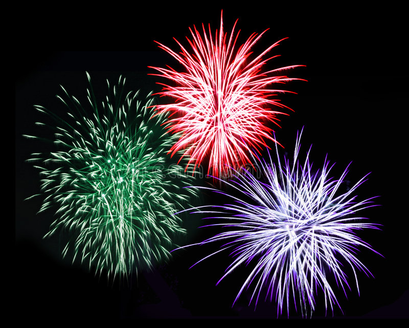 Tre fuochi d'artificio fotografia stock