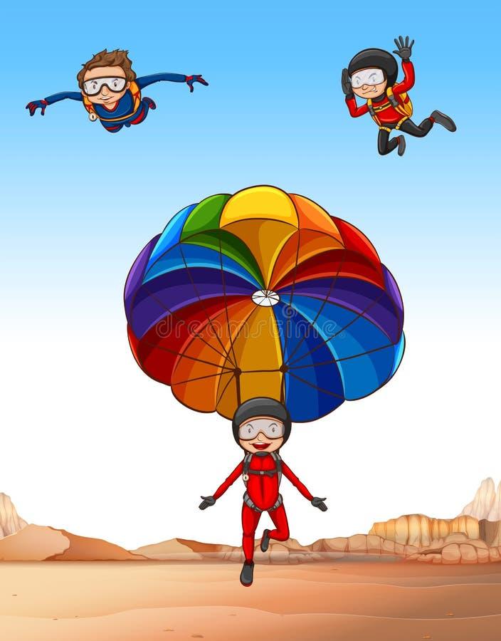 Tre genti che fanno lanciar in caduta liberasi illustrazione di stock