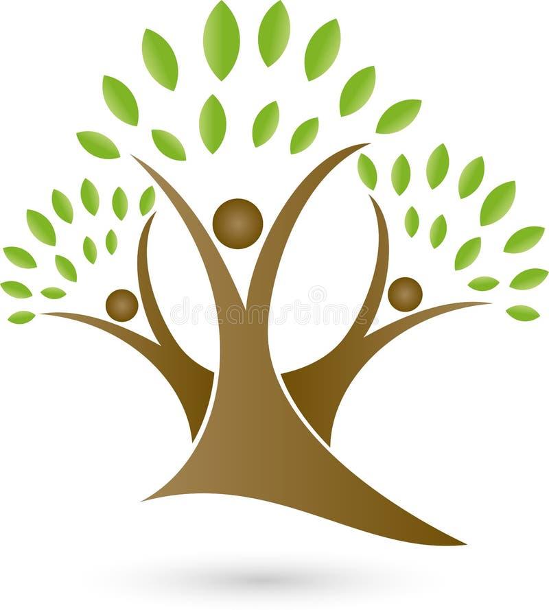 Tre genti come gli alberi, gli alberi e logo del giardiniere illustrazione di stock