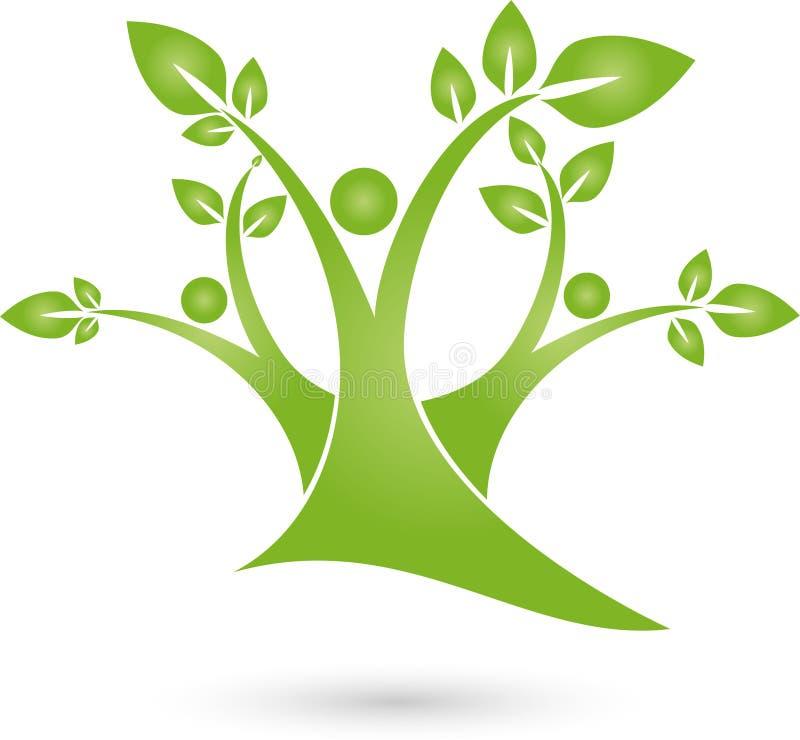 Tre genti come gli alberi, gli alberi e logo del giardiniere illustrazione vettoriale