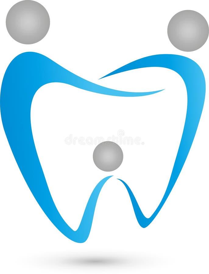 Tre genti come logo della famiglia e del dente del dentista, del dente illustrazione vettoriale