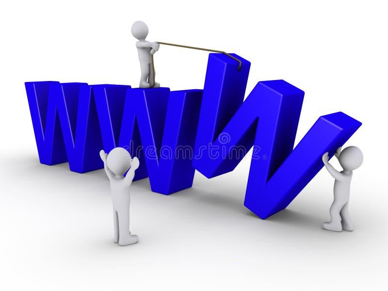 Tre genti lavorano per installare un Web site illustrazione vettoriale
