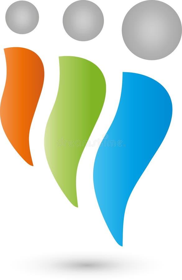 Tre genti nel logo di moto, del gruppo e della famiglia illustrazione di stock