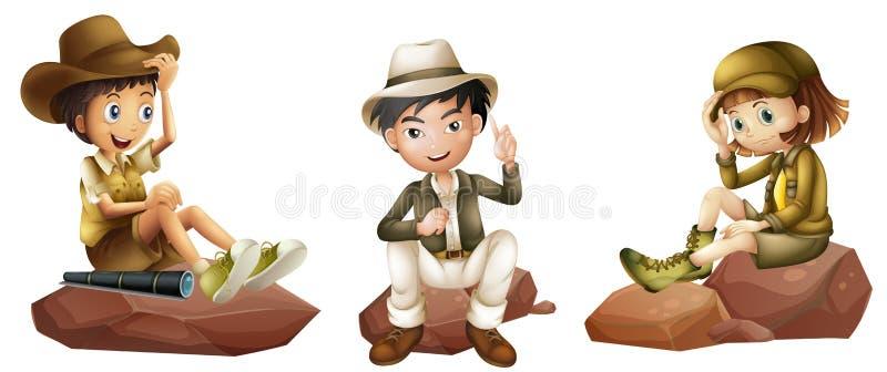 Tre giovani esploratori royalty illustrazione gratis