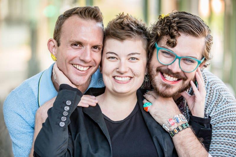 Tre giovani fluidi di genere immagini stock libere da diritti
