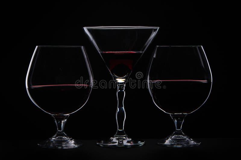 Tre glases differenti fotografia stock libera da diritti