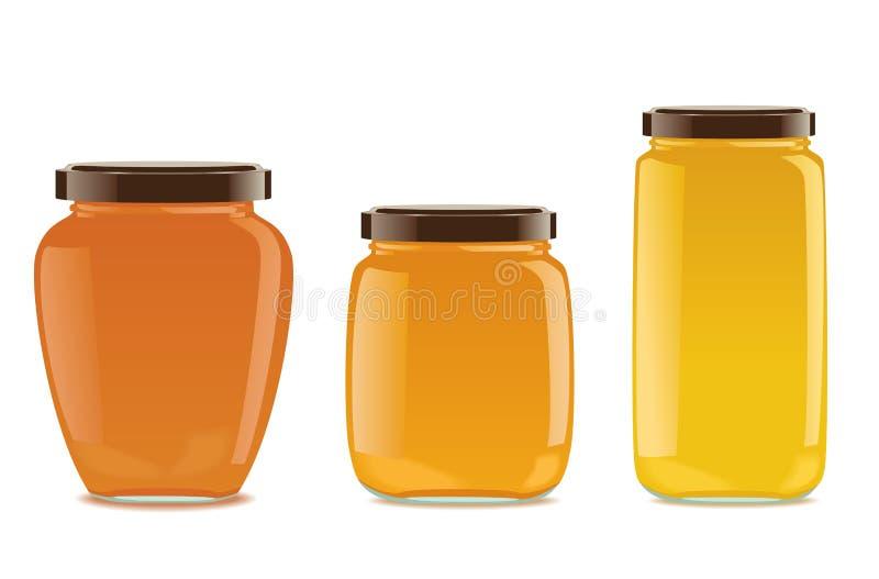 Tre glass krus med driftstopp eller honung stock illustrationer
