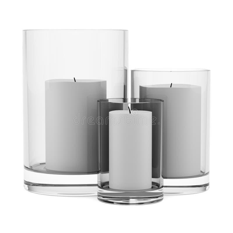 Tre glass ljusstakar med stearinljus som isoleras på vit vektor illustrationer