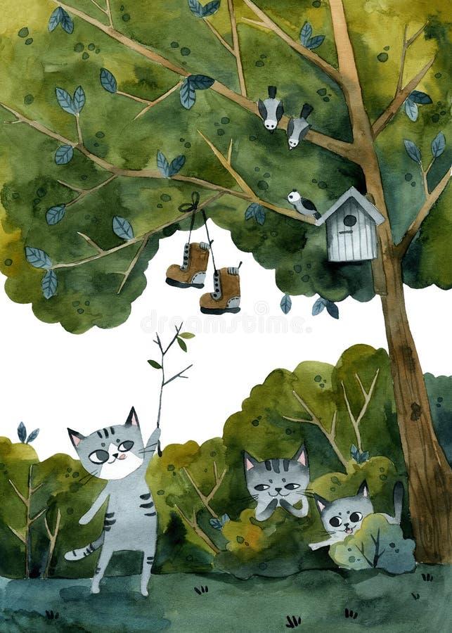 Tre gråa katter skojat på en vän, hängde hans skor på ett träd royaltyfri illustrationer