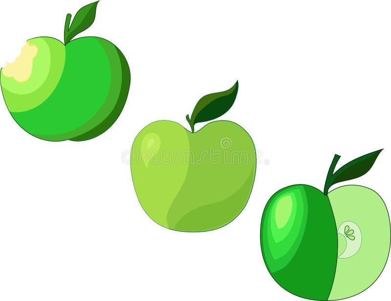 Tre gröna äpplen för wonderfull vektor illustrationer