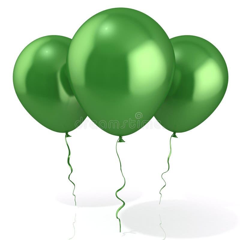 Tre gröna ballonger stock illustrationer
