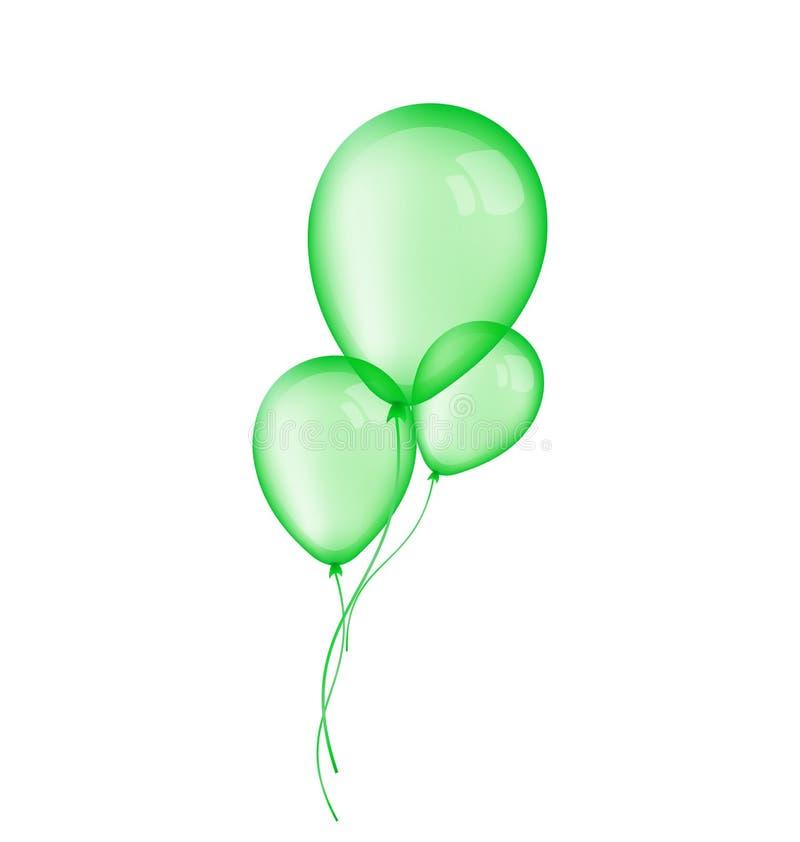 Tre gröna ballonger som isoleras på vit bakgrund stock illustrationer