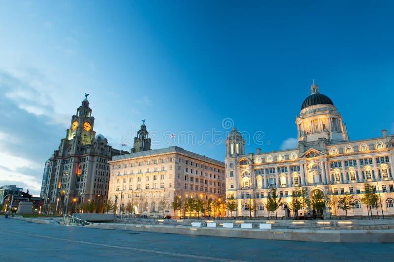 Tre gracerna, byggnader på Liverpools strand på natten royaltyfria foton