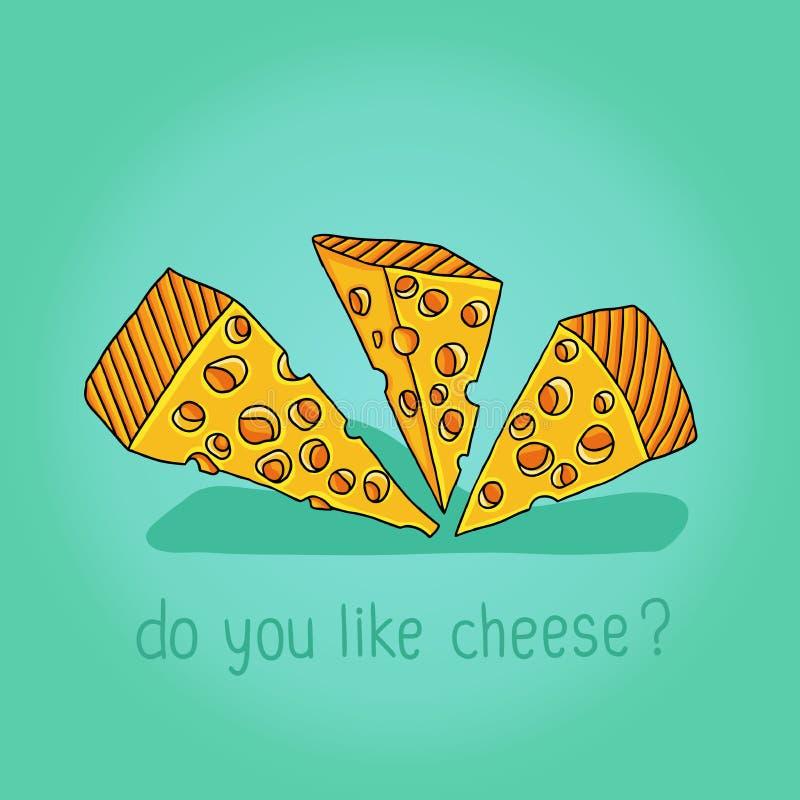 Tre grandi pezzi di formaggio con un'iscrizione illustrazione vettoriale